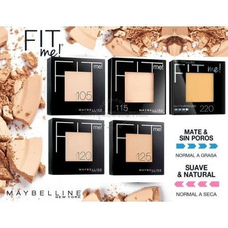 8 Uds x MAYBELLINE FIT ME POLVO COMPACTO - 5 TONOS (MIX 2)